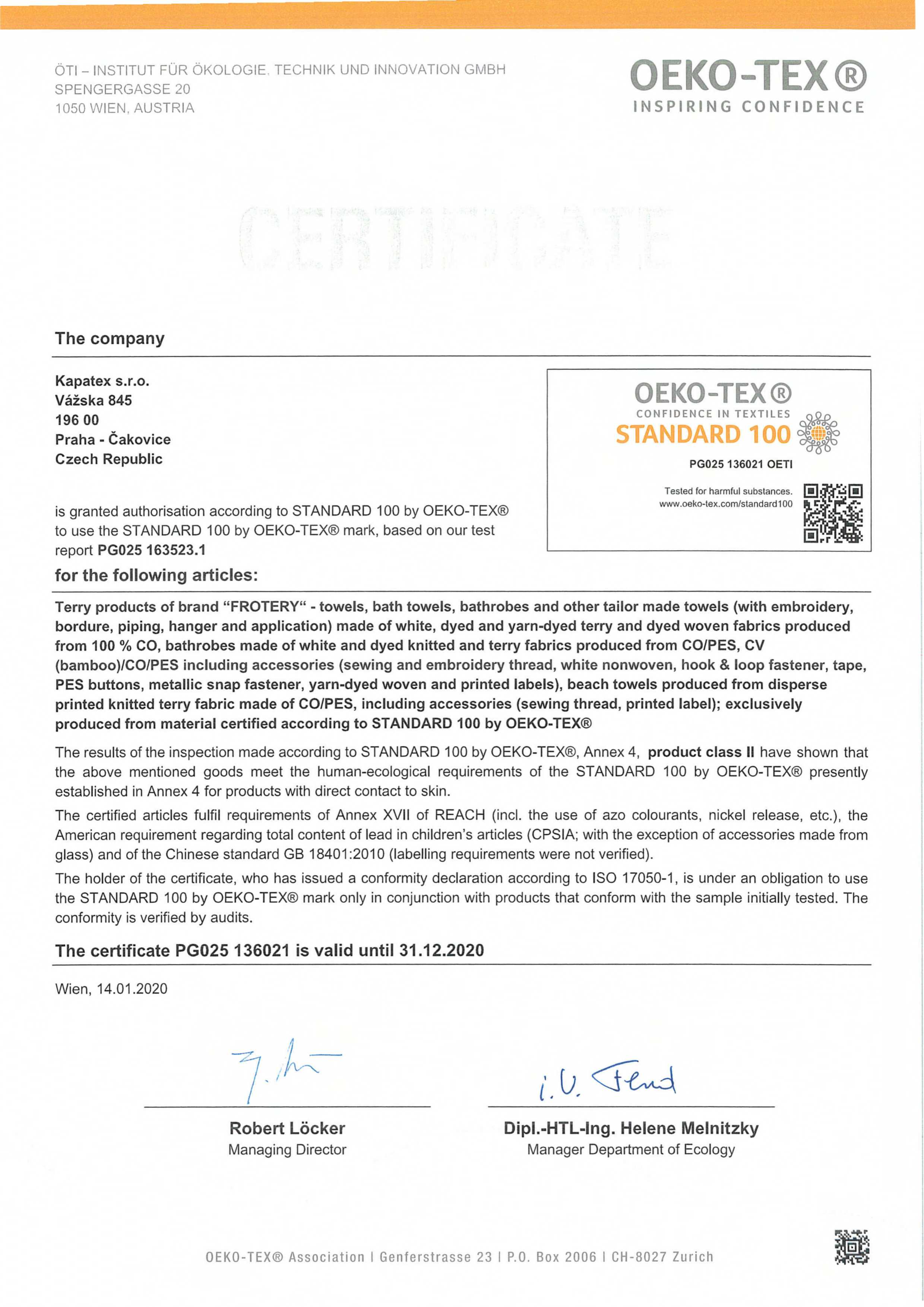 OEKOTEX certifikat Kapatex 2020