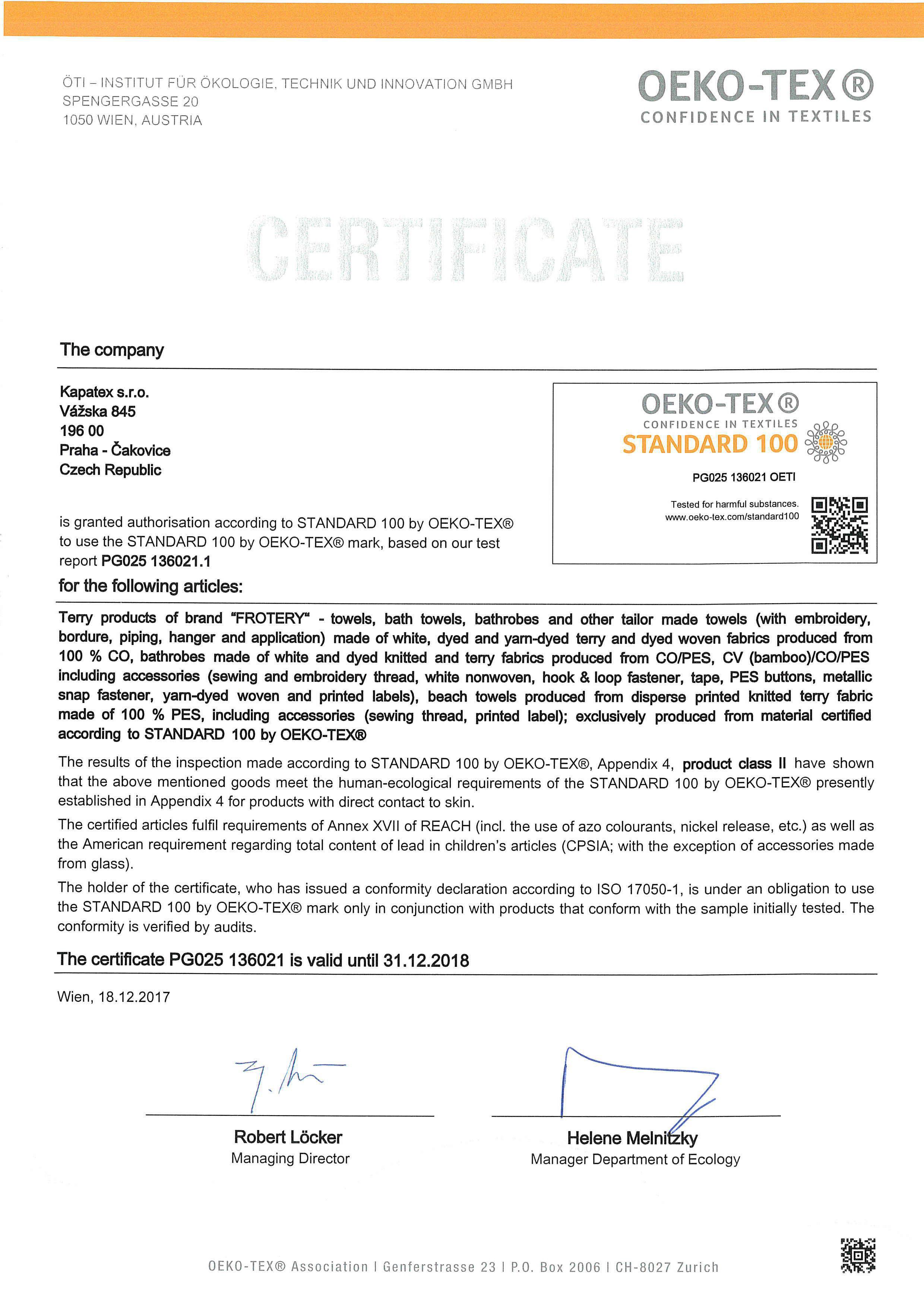 certifikát oeko