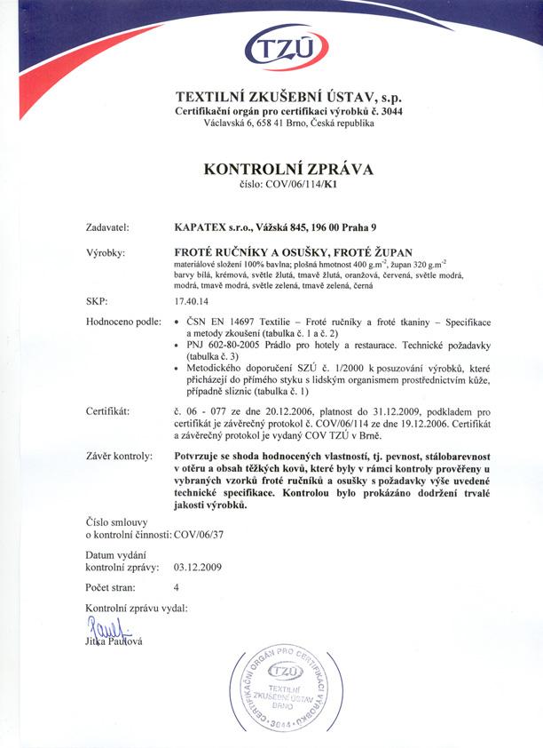 certifikát textilní