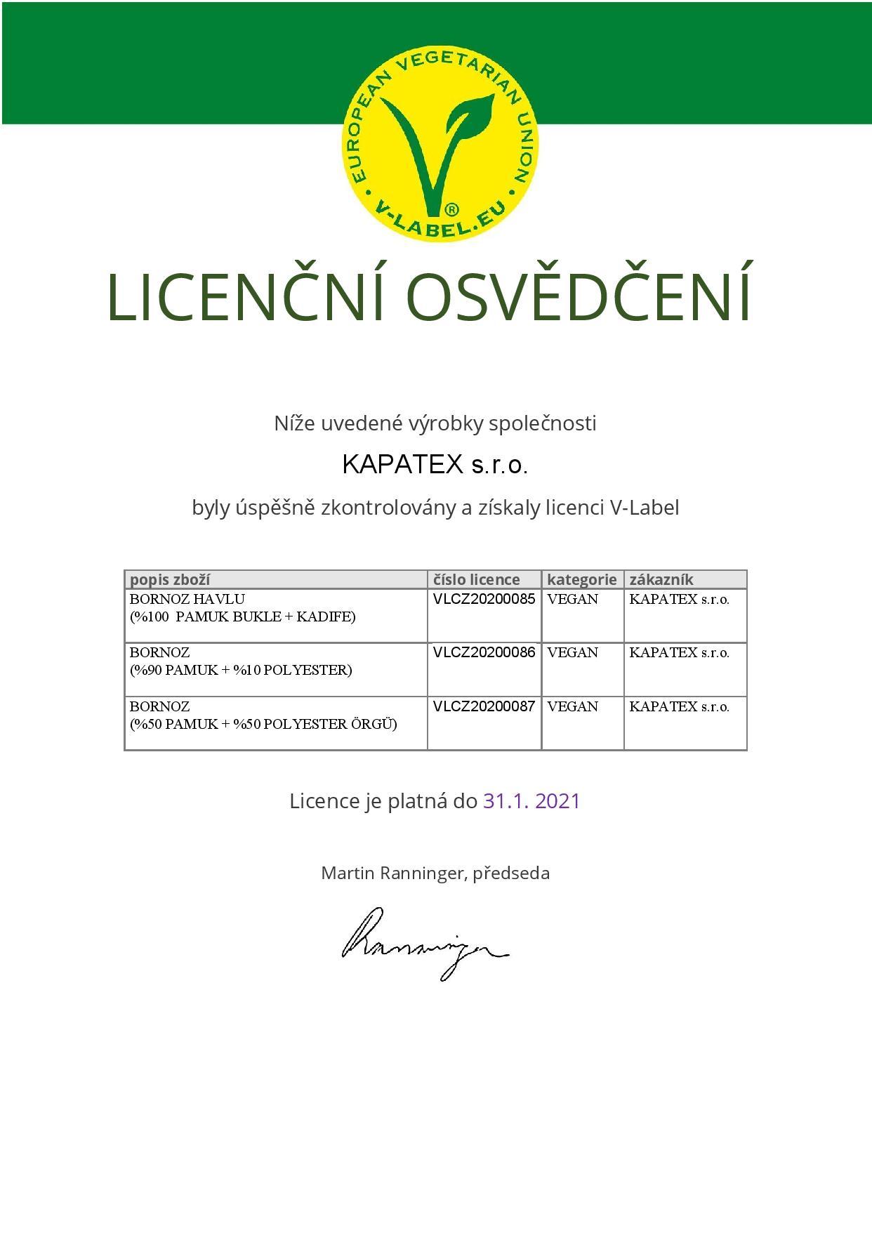 certifikát v-label