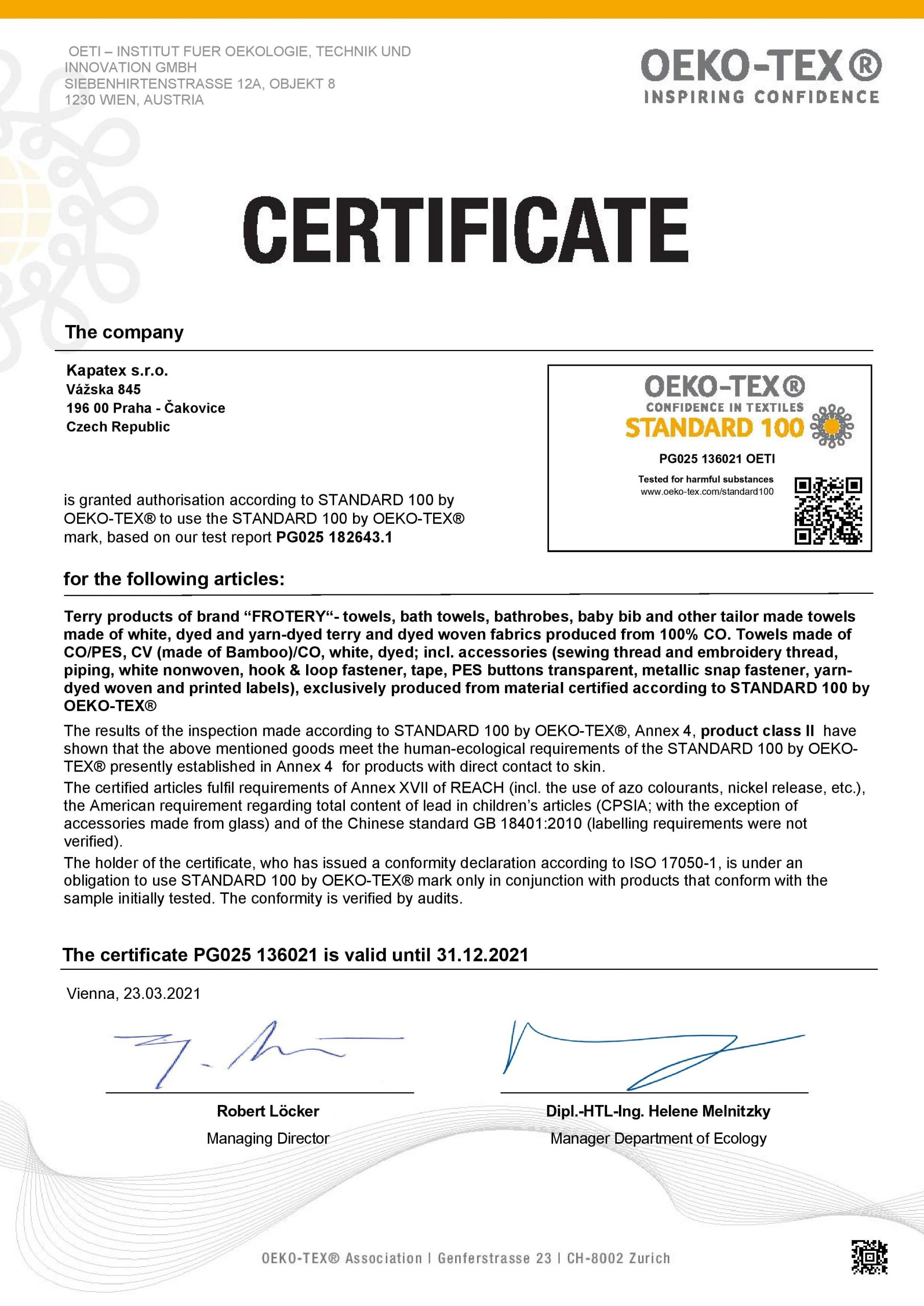 Certifikát Oeko Tex